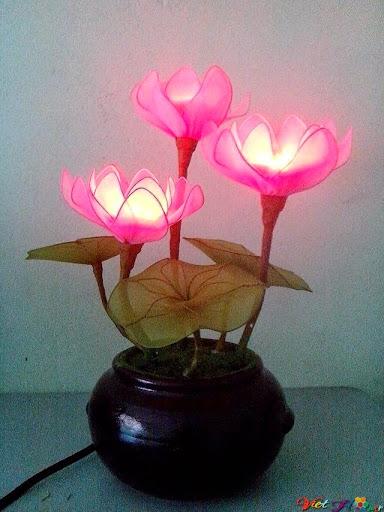 mẫu hoa sen bằng vải voan 3
