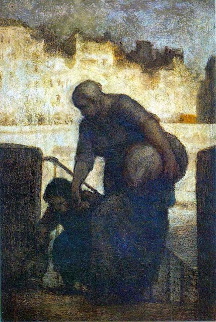Honoré Daumier - Laundress on the Quai d'Anjou