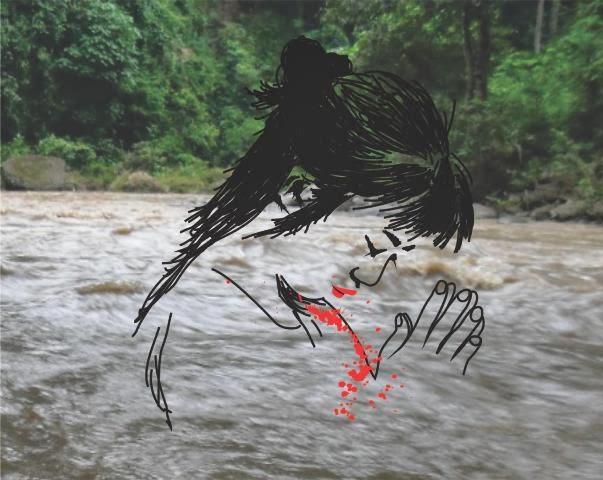 Salah satu caleg yang melakukan ritual kungkum di Sungai Tempuk Alas Ketonggo