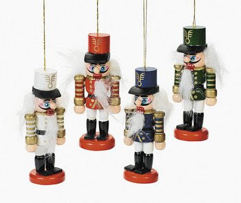 12 Wooden Nutcracker Christmas Tree Ornaments