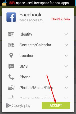 chấp nhận quyền cài đặt facebook lên android