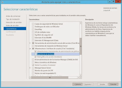 Instalar característica Experiencia de escritorio en Windows Server 2012