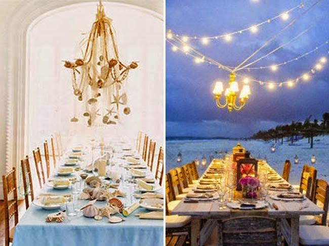 Long Tables With Chandeliers At Beach Wedding Reception