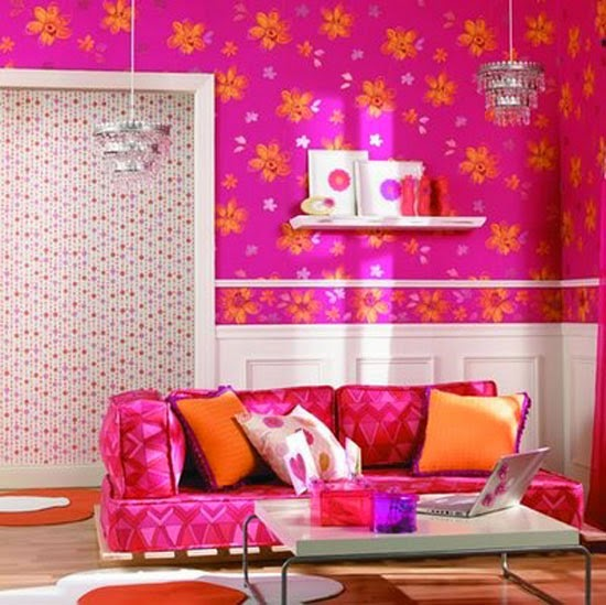 Decorar com papel de parede cor de rosa