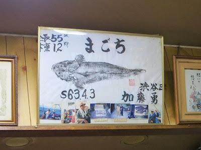店内に貼られた魚拓。「まごち」らしい