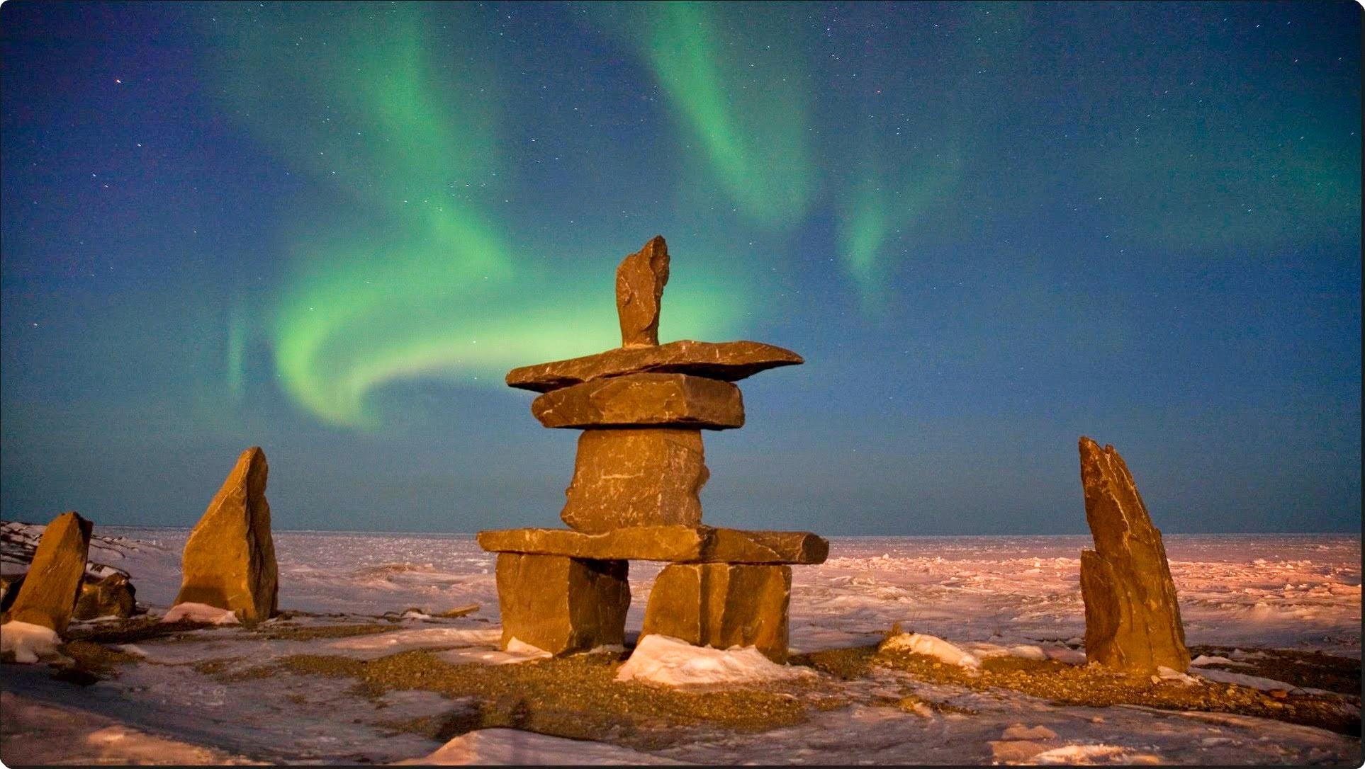 Aurora Borealis Over Inukshuks, Churchill, Manitoba, Canada