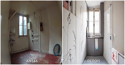 Pequeno quarto transformado num apartamento minúsculo de 8 metros quadrados em Paris