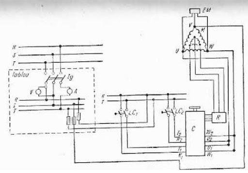 schema electrica de alimentare a moturlui pentru deplasarea podului