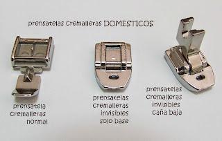 Tipos de prensatelas domésticos para pegar cremalleras