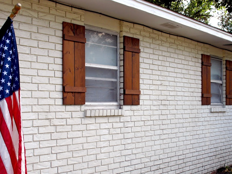 First Time DIY: How to Attach Wooden Shutters To Brick « Home ... on house windows with shutters, custom primitive shutters, cowboy with gun holes window shutters, open shutters,