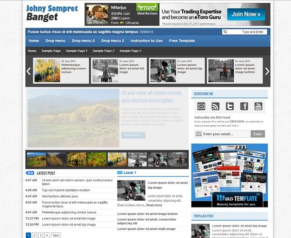 Johny Sompret Banget free blogger template download