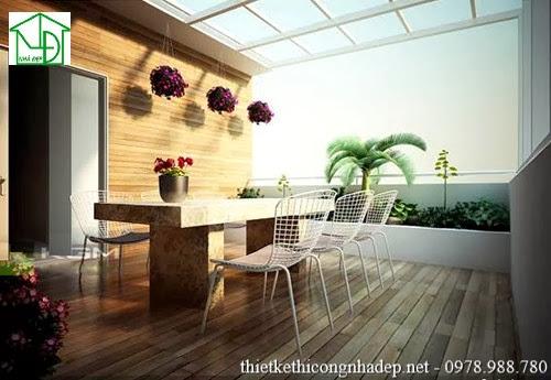 bàn ghế tại sân thượng