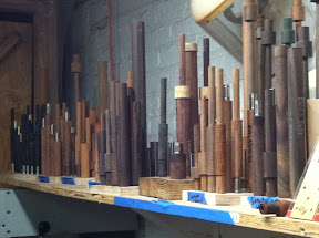 Production at the workshop.  Nine sets all nearing finish turning time!