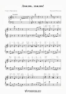 """Песня """"Дождик, дождик"""". Музыка В. Витлина: ноты"""