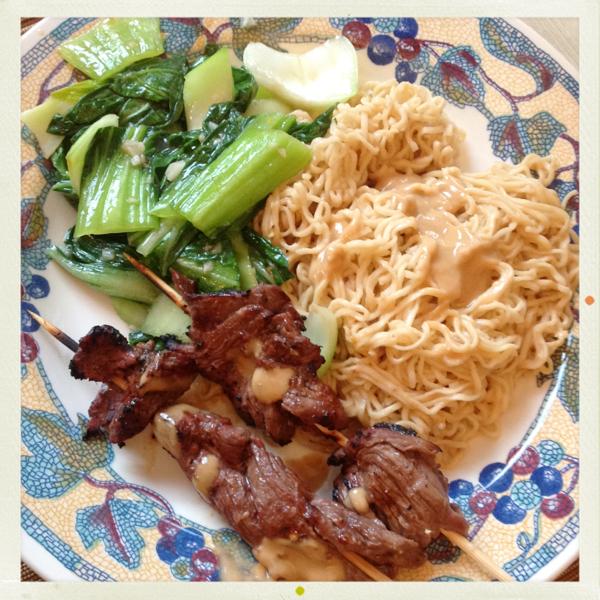 Beef Satay with Peanut-Ginger Ramen | Karmickristina's Kitchen