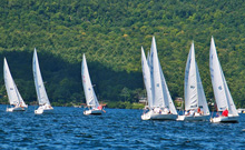 J/22 one-design sailboats- sailing upwind on Lake George, NY