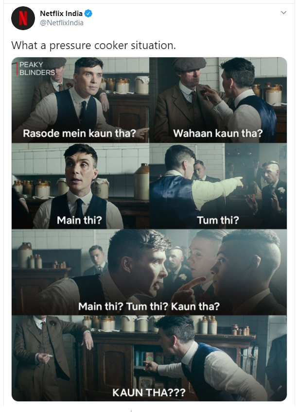 "The image shows how Netflix leveraged the ""Rasode mein kaun tha"" trend to its advantage"