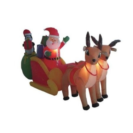 8.5' Airblown Inflatable Santa on Sleigh w/Reindeer Lighted Christmas Yard Decor