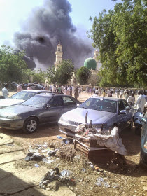 BREAKING: photos, explosion rocks central mosque