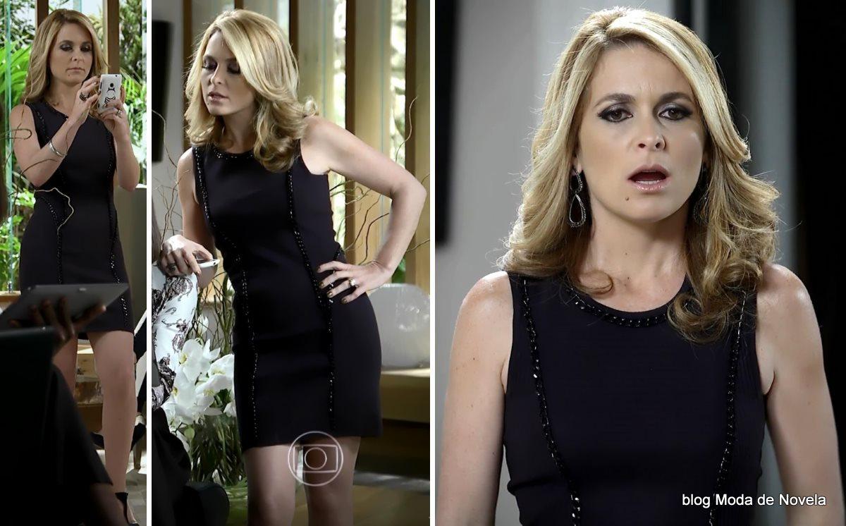 moda da novela Geração Brasil - look da Pamela com vestido pretinho básico dia 3 de julho