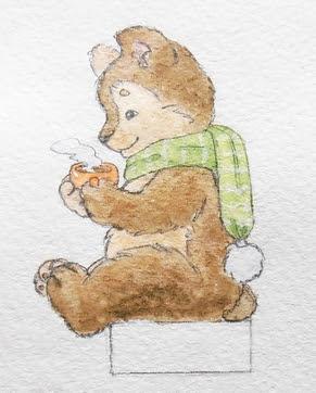 медвежонок акварель