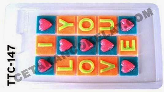 cetakan coklat cokelat I Love You ILU ILOVEYOU ILOVEU TTC147 valentine