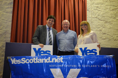 17-05-2013 - By Scott Campbell (+44) 0774 296 870 - Dennis Canavan, Chair of Yes Scotland, Jamie Hepburn, SNP MSP for Cumbernauld and Kilsyth, and Sarah-Jane Wells at Cumbernauld Village Hall Yes Scotland public meeting