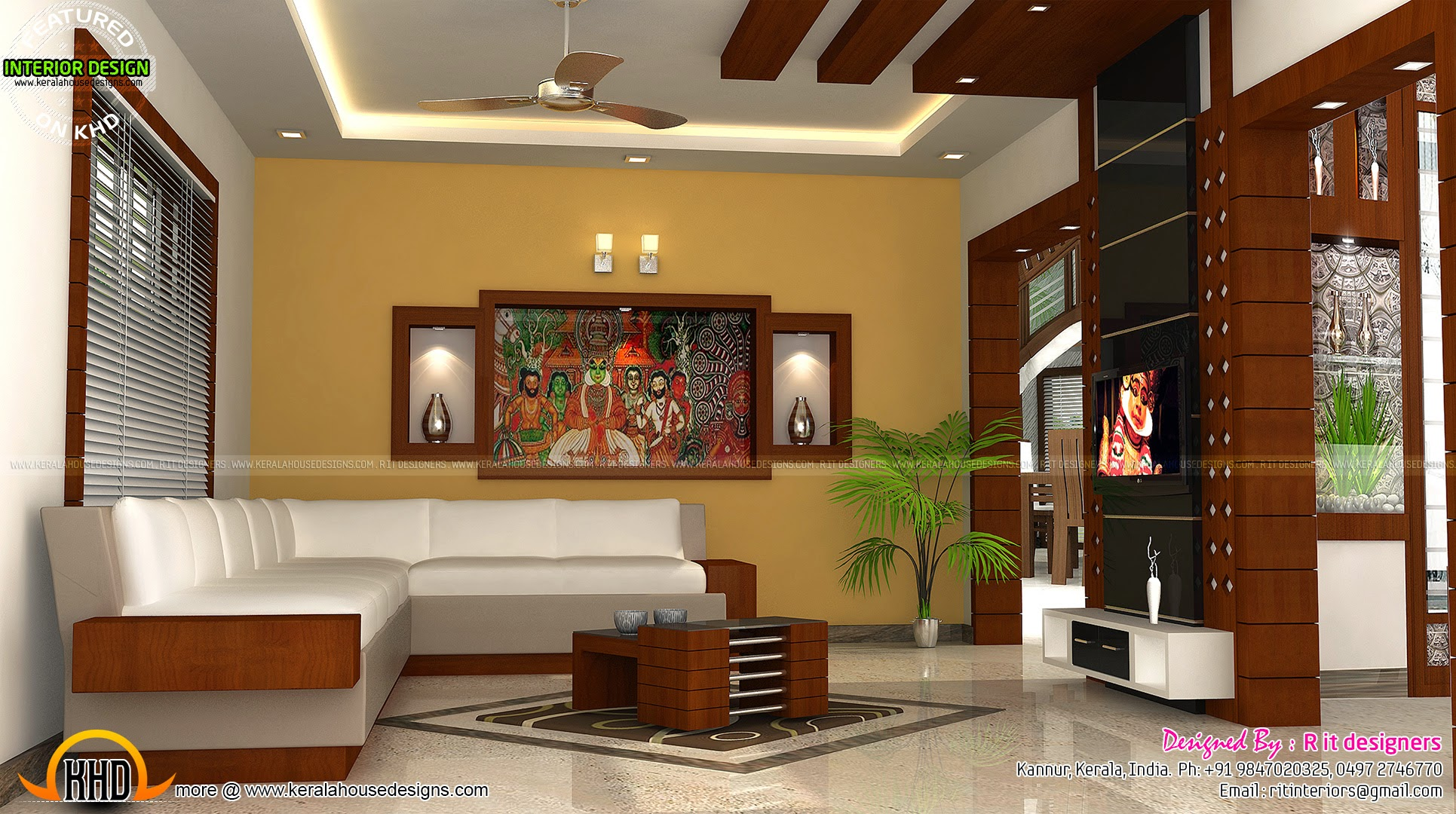 Kerala interior design with cost kerala home design and for Kerala homes interior designs