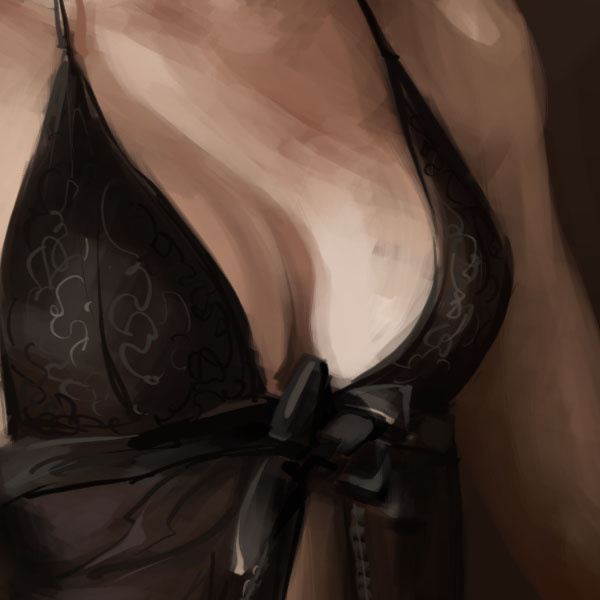 breast in lingerie