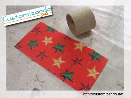 Porta-guardanapo de natal feito com novelo de linha de bordar