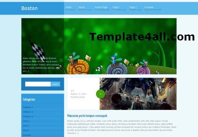 Free Cute Blue Wordpress Magazine Template