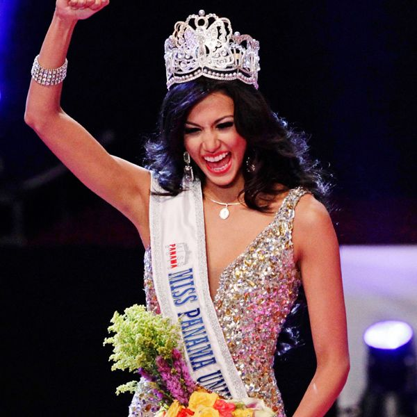 Carolina Brid celebrates after being crowned as Miss Panama 2013 in Panama City, on April 30, 2013. Brid will represent Panama at the Miss Universe beauty pageant.