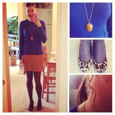 0ad691e7be00 F21 skirt and necklace / TJ Maxx sweater / Jessica Simpson shoes /  Francesca's Collections earrings / Nordstrom tights