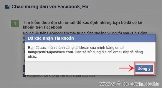 Xác nhận đăng ký tài khoản facebook thành công