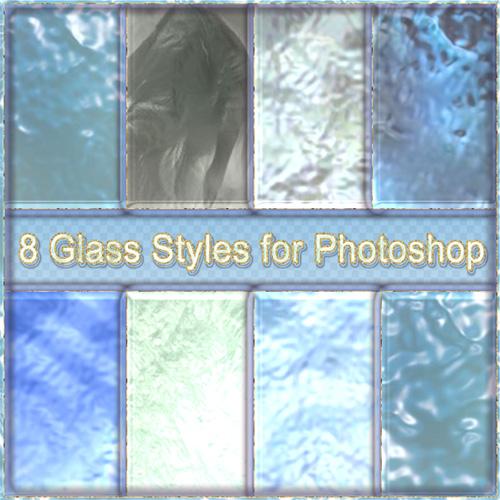Стеклянные стили для фотошоп в голубых тонах