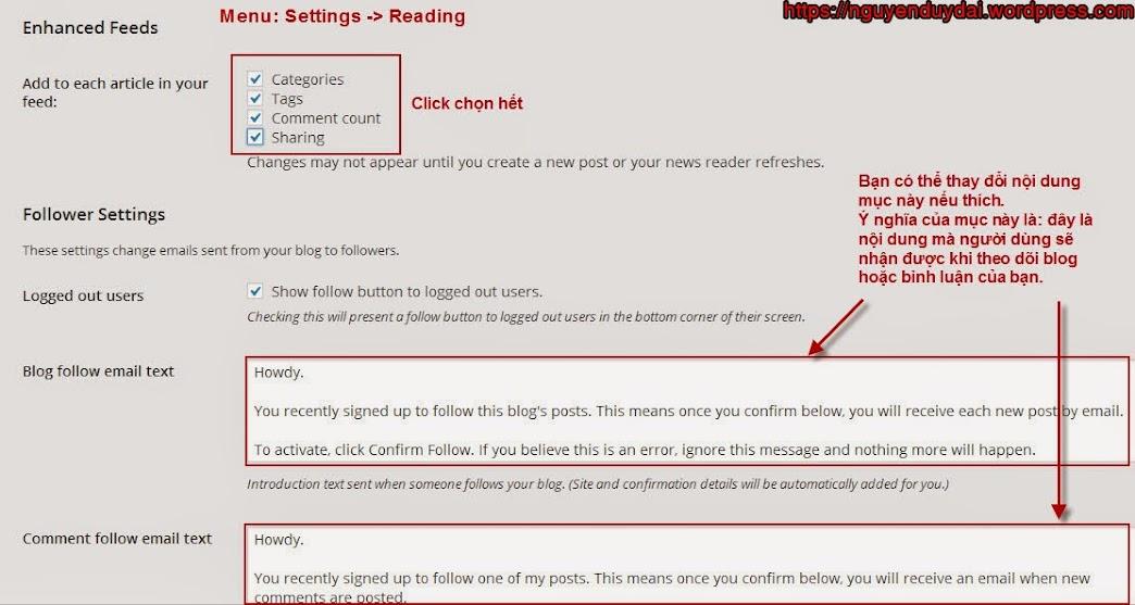 Thiết lập các thông số cần thiết cho blog wordpress