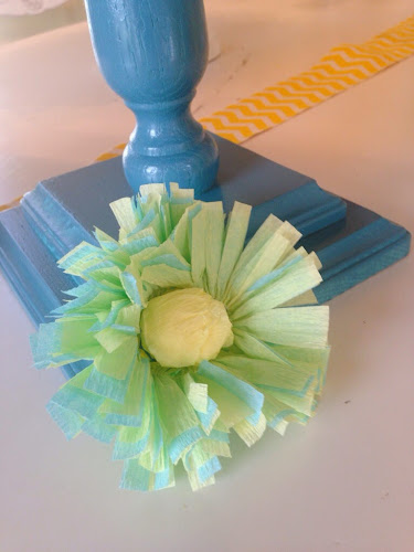 Crepe paper flowers, yellow and turqoise bridal shower