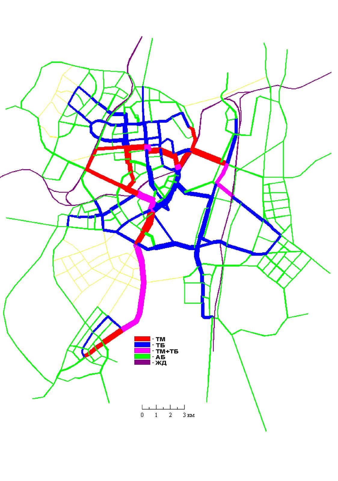 15. Вариант I. Сеть ГПТ совмещенная с картограммой пассажиропотоков по видам транспорта