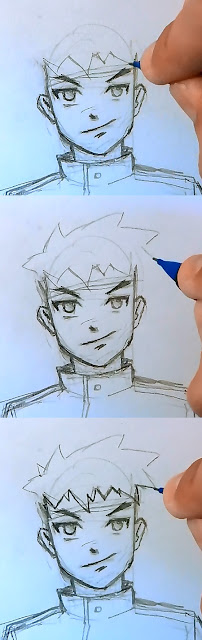 how to draw someone with spiky hair