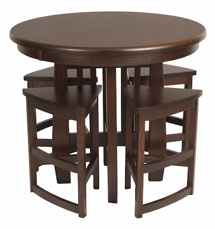 "Barcelona Barstools in Frontier Oak with 42"" Diameter Sonora Pub Table"