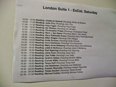 LonCon 16th August readings schedule