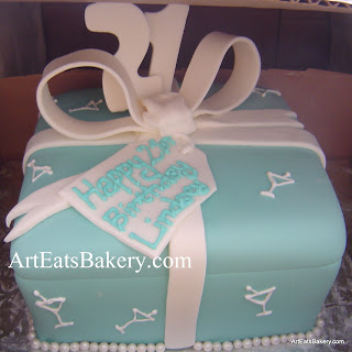 Tiffany blue fondant gift box custom unique 21st birthday cake with white bow martini glasses, edible tag and topper