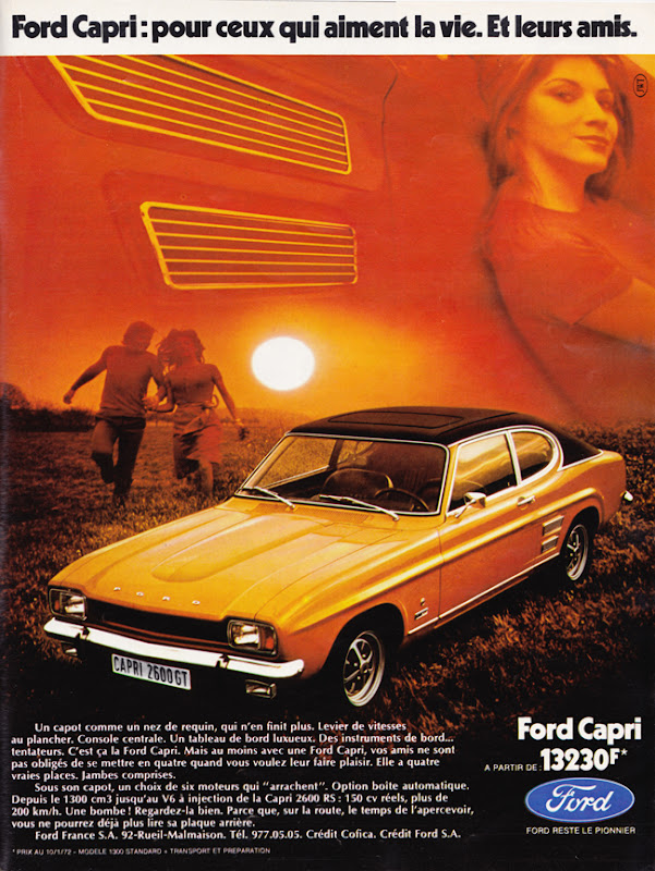 Publicité vintage : Ford Capri : Pour ceux qui aiment la vie. Et leurs amis - Pour vous Madame, pour vous Monsieur, des publicités, illustrations et rédactionnels choisis avec amour dans des publications des années 50, 60 et 70. Popcards Factory vous offre des divertissements de qualité. Vous pouvez également nous retrouver sur www.popcards.fr et www.filmfix.fr   - For you Madame, for you Sir, advertising, illustrations and editorials lovingly selected in publications from the fourties, the sixties and the seventies. Popcards Factory offers quality entertainment. You may also find us on www.popcards.fr and www.filmfix.fr