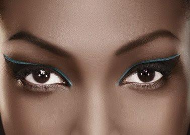Maquillaje, ojos, cara, piel negra, base maquillaje, sombra de ojos, contorno ojos, corrector, polvo iluminador tez