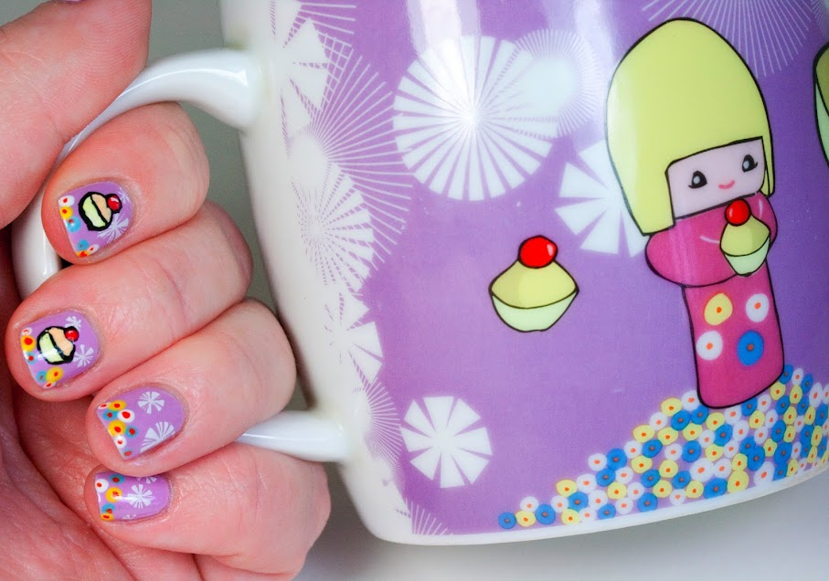 Kawaii Flying Cupcake Manicure Test Tube Nails