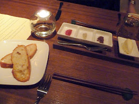 Roe restaurant bread service softened butter and three flavored salts beet, anise, and cocoa