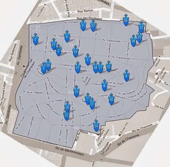 План кладбища Пер-Лашез