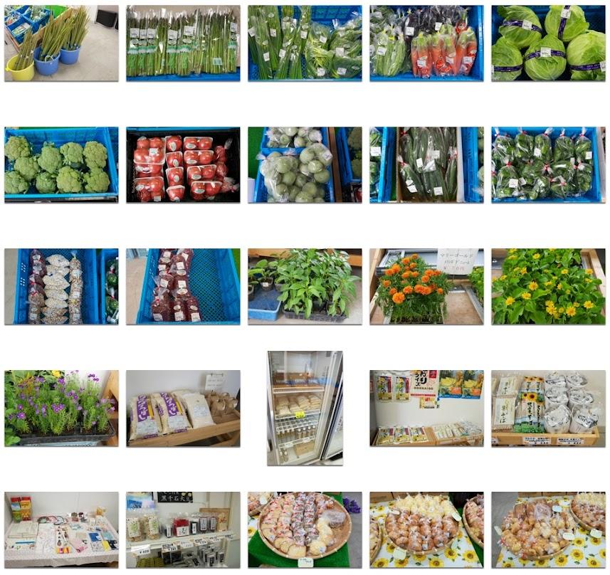 北竜町産の野菜、お母さんの手作り工芸品など
