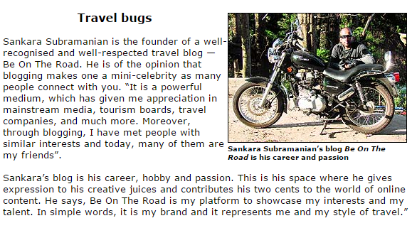 BE ON THE ROAD Travel Blog featured on the Tribune