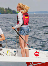 J/70 woman sailor at German Sailing Leage / Deutsche Segel-Bundesliga